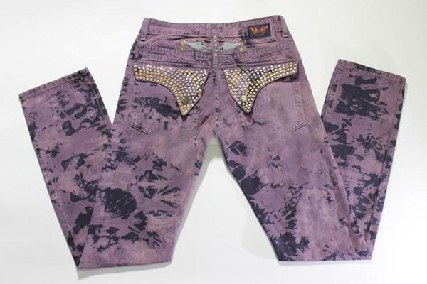 Мужчины байкер джинсы Алмаз джинсовые брюки горный хрусталь классический Жан случайные прямые мужские джинсы с Крыльями американский флаг Кристалл шипованных брюки