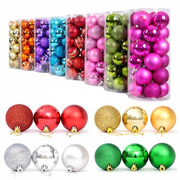 24pcs Set Christmas Tree Xmas Balls Decorations Baubles Wedding Party Ornament Parties Decorations (3-Finish, 1.18'' in)