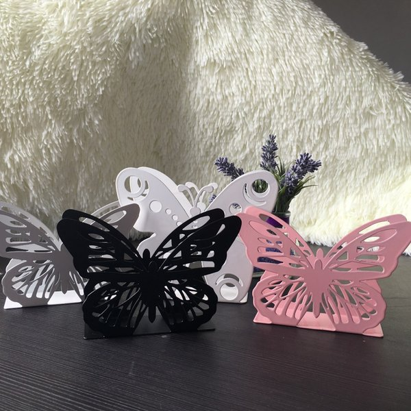 Wholesale- New Beautiful metal steel iron craft napkin paper holder towel tissue block rack home table decor box white black pink butterfly
