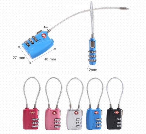 TSA Resettable 3 Digit Combination Cable Lock - Travel Luggage Suitcase Code Metal Padlock Security for School Gym Locker