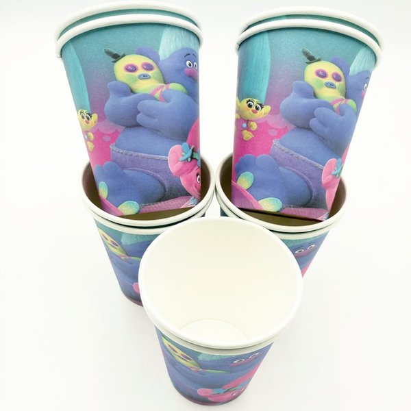 Wholesale- 10pcs/set Trolls Cup Cartoon Theme Party For Children/Girls Happy Birthday Decoration Theme Party Supply Festival
