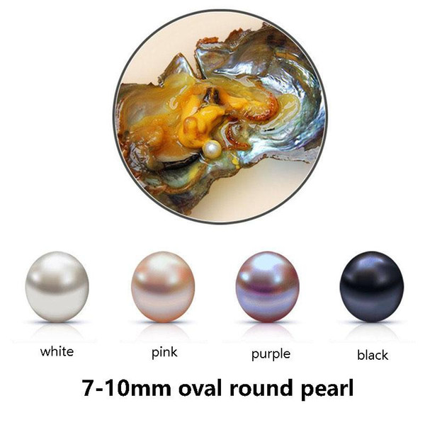 top popular 2017 Fresh Water Oyster Pearl Natural Oval Round Loose Pearl 7-10 mm DIY Gift Decorations Vacuum Packaging Wholesale White Pink Purpel Black 2020