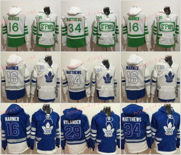 Toronto Maple Leafs ST Pats Hoodie 16 Mitch Marner 29 William Nylander 34 Auston Matthews 100th Centennial Classic Hockey Jerseys