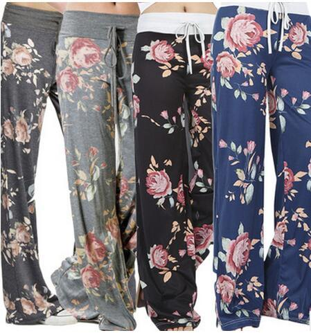 S-3XL 4colors Women Yoga Pants Boho Style trousers High Waist Flare Wide Leg Pants Fashion printing Vintage Palazzo Trousers