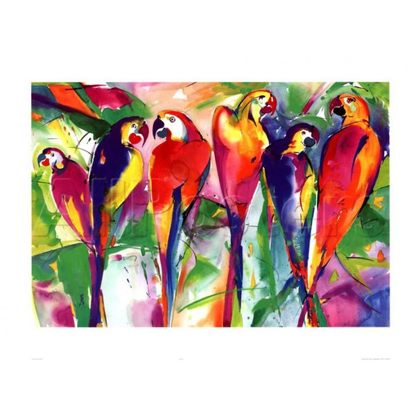 Alfred Gockel arts on canvas Parrot Family High quality oil paintings reproduction Hand painted