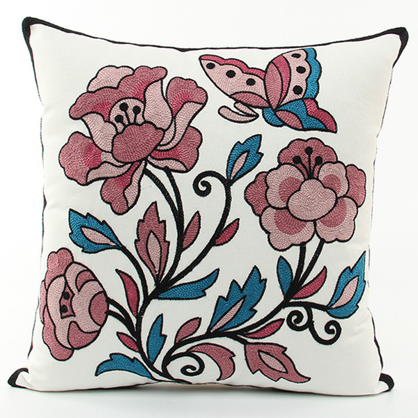 American Pastoral Flowers Butterfly Embroidered Cushion Covers Embroidery Cushion Cover Sofa Throw Decorative Cotton Pillow Case