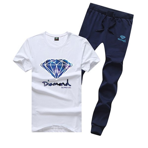 M6092 s-5xl FREE SHIPPING men's Diamond Supply set cotton t shirts + long pants skateboard solid hip hop letter Leisure Tracksuits
