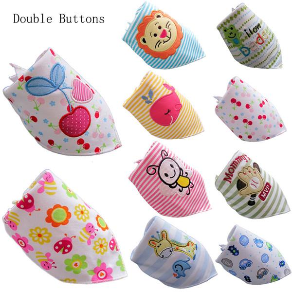 30pcs/lot Dural Layer Thicker Newborn Bibs Cartoon Character Baby Bandana Bibs Girl and Boy Cotton Triangle Children Feeding Accessories