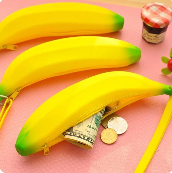 Il più nuovo studente di moda per bambini in silicone Banana sacchetto della moneta borsa borsa portafoglio tasca cosmetici sacchetto del sacchetto di immagazzinaggio