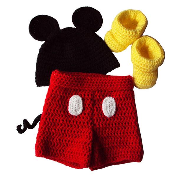 Adorable Newborn Cartoon Mouse Costume,Handmade Crochet Baby Boy Girl Animal Beanie,Shorts and Booties Set,Halloween Costume,Photo Prop