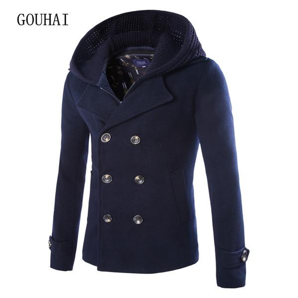 best selling Wholesale- Wool Coat Men Peacoat Winter Mens Short Jackets Hooded Double Breasted Chaqueta Hombre Woolen Blends Men Cashmere Overcoat