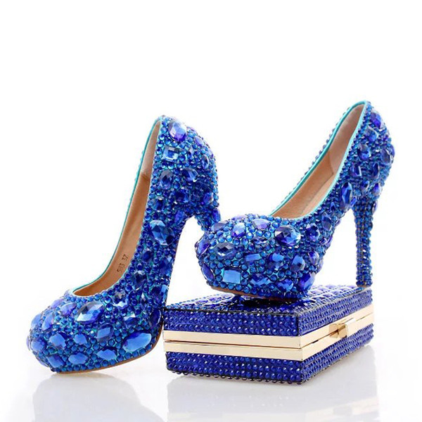 2017 Blue Rhinestone Wedding Heels with Fashion Crystal Matching Bag Party High Heels with Clutch Bridal Shoes Lady Prom Pumps