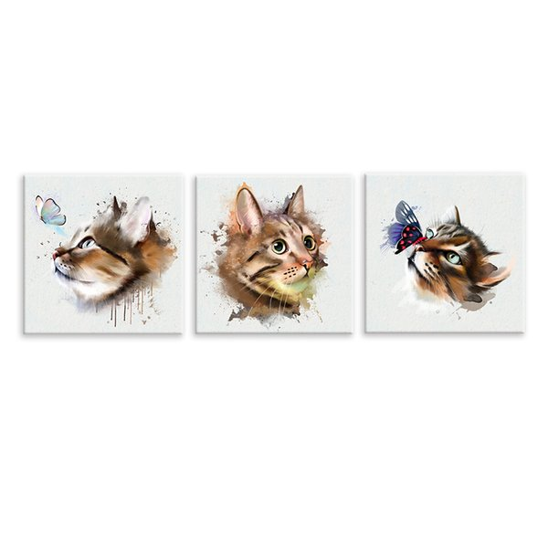 Cat Playing with Butterfly Animal Painting Prints Housewarming Gift Cute Canvas Arts Unframed (40cmx40cmx3)