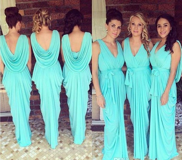 2017 Cheap New Summer Beach Bohemian Bridesmaid Dresses Aqua V Neck Pleats Chiffon Maid of Honor Boho Custom Made Flow Wedding Guest Gowns