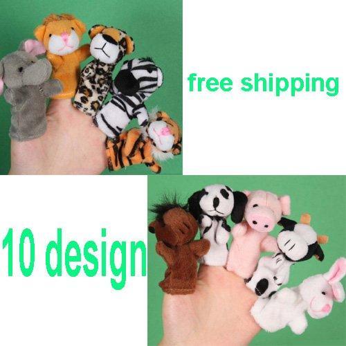 Wholesale- 10PCS / LOT, Burattini da dito, Burattino animale, Nuovo giocattolo per bambini, Bomboniere per bambini, Giocattoli educativi per bambini, 8cm, 10 design