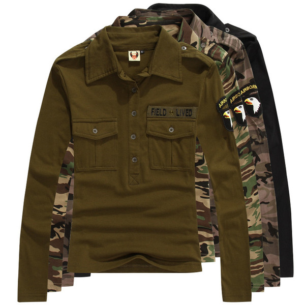 Military Uniform Cotton Tops Spring Autumn Women Long Sleeve Army Leisure Printed T-shirt Casual Female Camouflage Tshirt