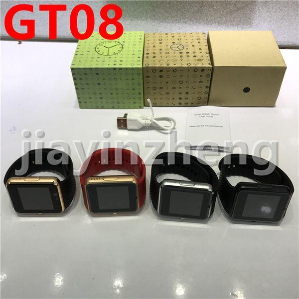 GT08 Smart Watches Montre Bluetooth intelligente avec carte SIM Montre santé pour Android Samsung et IOS Apple iphone Smartphone Bracel
