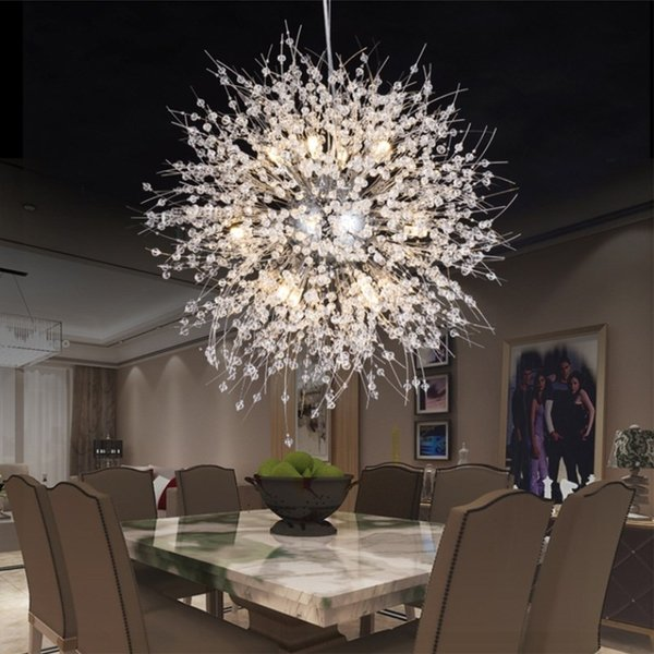 Modern Dandelion LED Plafoniere Lampadari in cristallo Illuminazione Globe Ball Lampada a sospensione per Sala da pranzo Camera da letto Apparecchio di illuminazione