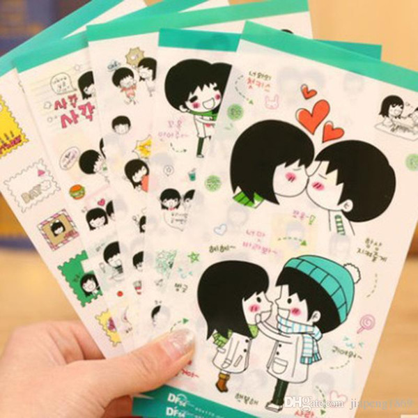 Classic Toys Boy and Girl Kawaii Planner Stickers Cartoon Cute Sweet Lovers Diary Decor Notebook DIY Decoration 5 sheets/set