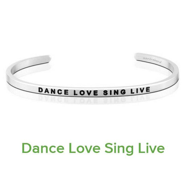 10PCS Delicate Silver Cuff Bangle DANCE LOVE SING LIVE Stamped Bracelet Titanium Steel Inspirational Bangle for Women Gift