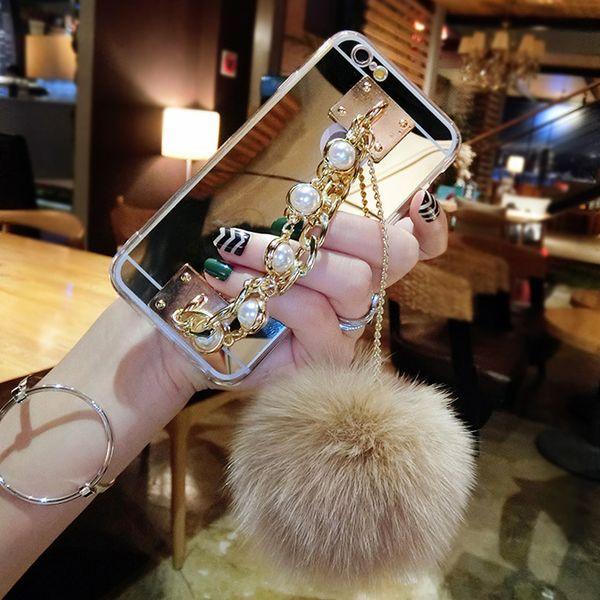 For Samsung galaxy s6 s7 s8 s9 edge plus Luxury Fashion pearl Chain Tassel fox puff pompoms fur ball soft mirror case cover