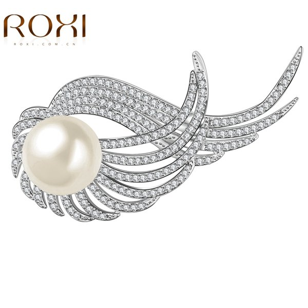 ROXI Mother's Day Fashion Brooches for Women Ladies White Gold Plated Angel Wings Engagement Wedding Party Jewelry Brooches