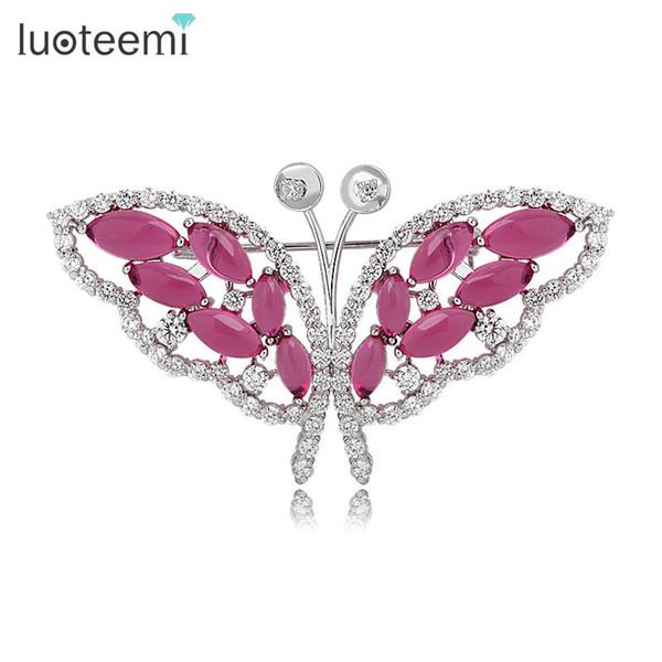 Luxus Zirkon Kristall Schmetterling Brosche für Frauen Aktivität Hochzeit Schmuck Kristall Brosche Pins Weiß-Gold Farbe LUOTEEMI