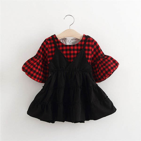 Wholesale-New Red And Grey Plaid Dress Baby Girls Clothing Dresses Fashion Brand Childrens Dresses For Kids 70/80/90/100CM Free Shippping
