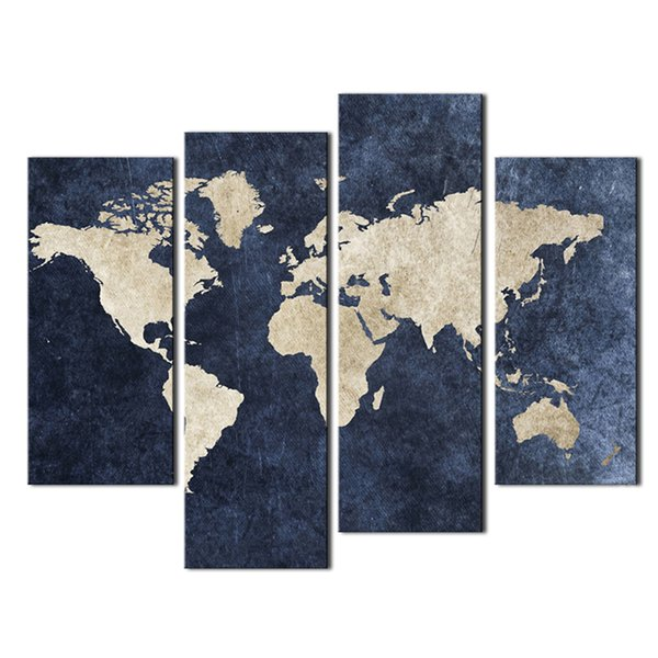 4 Pieces Blue Map Painting World Map With Mazarine Picture Print Canvas Ready to Hang For Home Decor with Wooden Framed