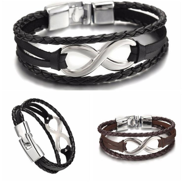 Good A++ New lucky 8-word leather bracelet bracelet leather 8-word bracelet FB547 mix order 20 pieces a lot Link, Chain