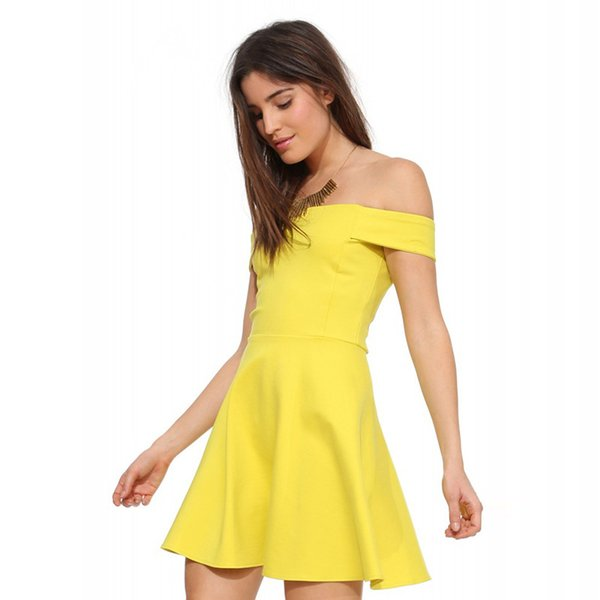 Wholesale 2017 Women Summer Off Shoulder Dresses Yellow White ...