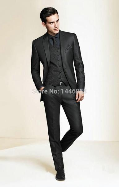 Wholesale- 2016 Hot Sale Bespoke Men Suits Classic Slim Fit Black Wedding Dress Groom Tuxedos Prom Suits 3 Piece Men Wedding Suits