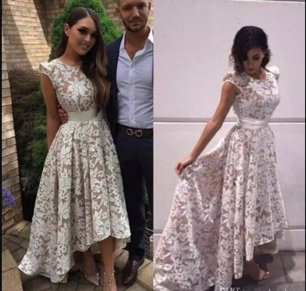High Low Lace Prom Dresses 2017 New Arrival Special Occasion Party Dress Cap Sleeve Formal Evening Gowns For Women