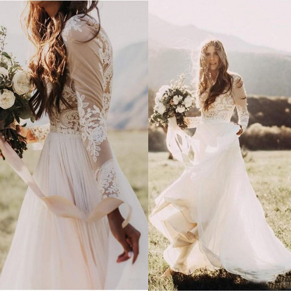 top popular Bohemian Country Wedding Dresses With Sheer Long Sleeves Bateau Neck A Line Lace Applique Chiffon Boho Bridal Gown Cheap 2019