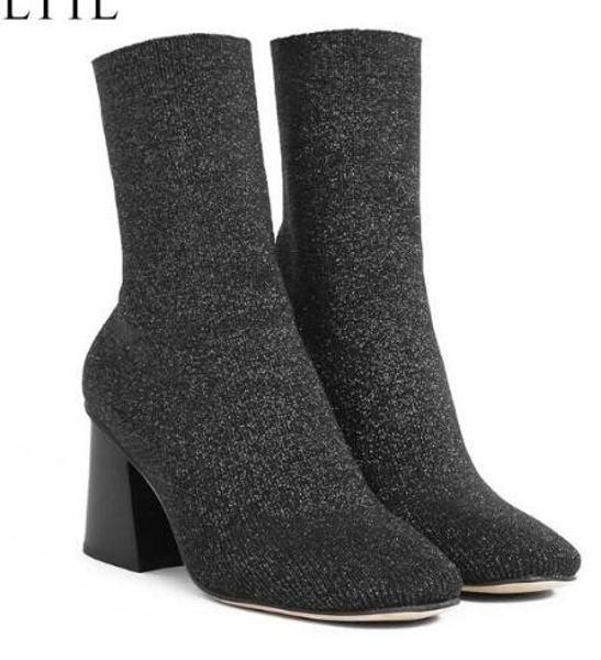 Botas de calcetines de las mujeres de estilo occidental Tacones gruesos Block High Heels que hacen punto estiramiento de los botines cortos para las mujeres