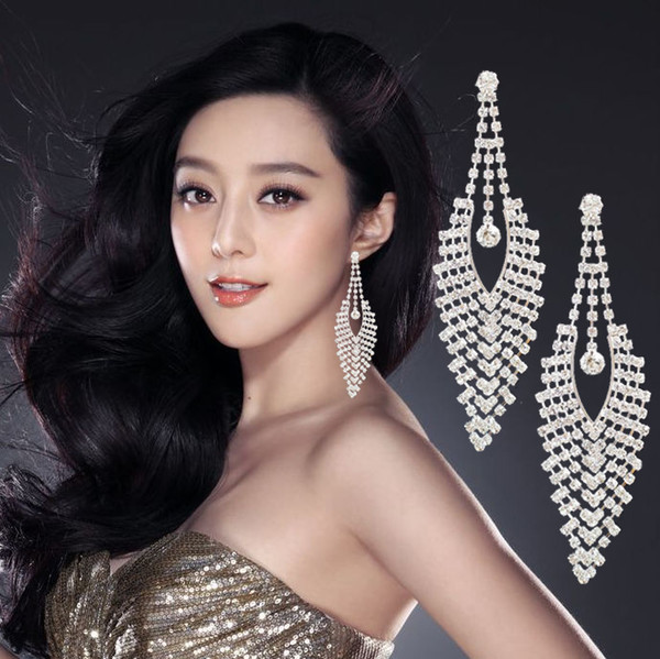 best selling New Large Earrings Luxury Austria Crystal Clip on Big Long Tassel earrings without hole Mix Dangle Knot Wholesales Shine Bling Jewelry DHL