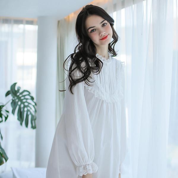 Wholesale- Free Shipping 2017 New Spring Women's Long Vintage Pijamas White and Pink Nightshirt Lace Sleepwear Cotton Princess Nightgown