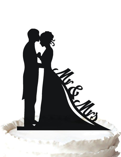 Bride and Groom Silhouette Wedding Cake Topper Mr & Mrs Cake Topper ,37 color for option Free Shipping