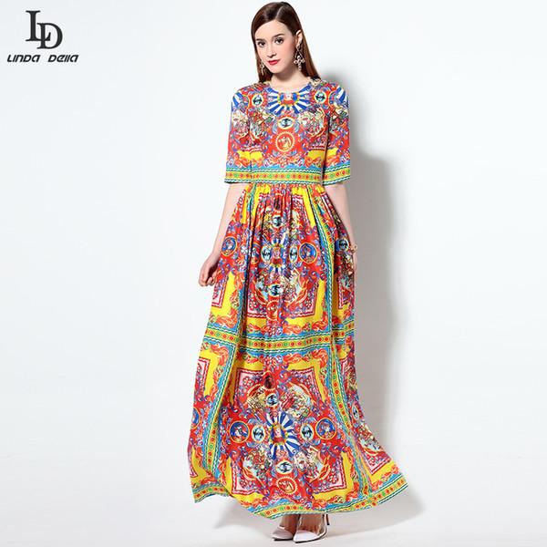 Vente en gros- Haute Qualité Nouvelle 2016 Mode Piste Designer Été Dress Femmes Demi Manches Guerrier Caractère Floral Imprimer Maxi Long Dress