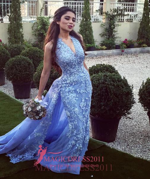 2019 élégant lilas arabe soirée robes de bal sirène licol profond v-cou fortement embellissement robe formelle pour la fête robes de célébrité