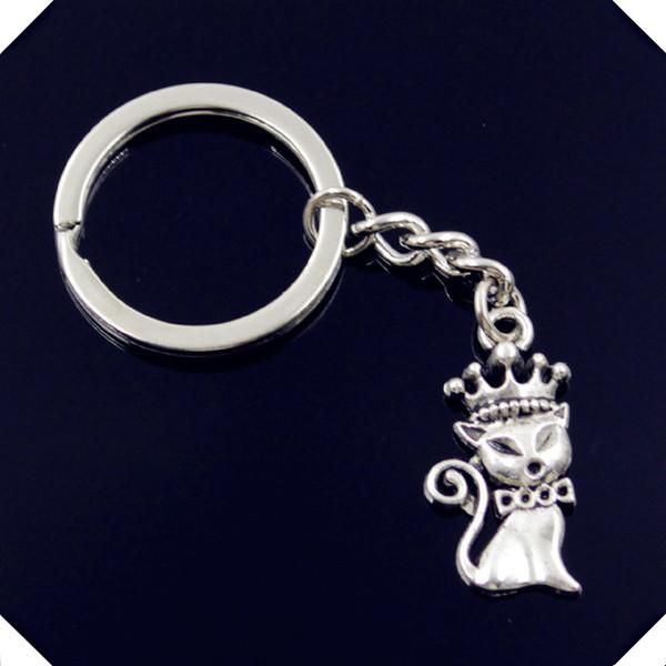 new-fashion-men-30mm-keychain-DIY-metal-holder-chain-vintage-cat-fox-crown-15-30mm-antique silver key rings