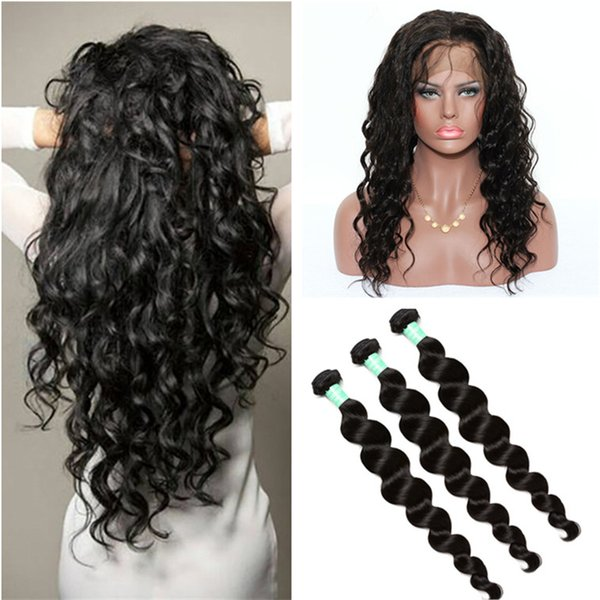 Pre Plucked 360 Lace Frontal Closure With Bundles Brazilian Loose Deep Wave Virgin Human Hair Weaves With 360 Full Lace Frontals Baby Hair