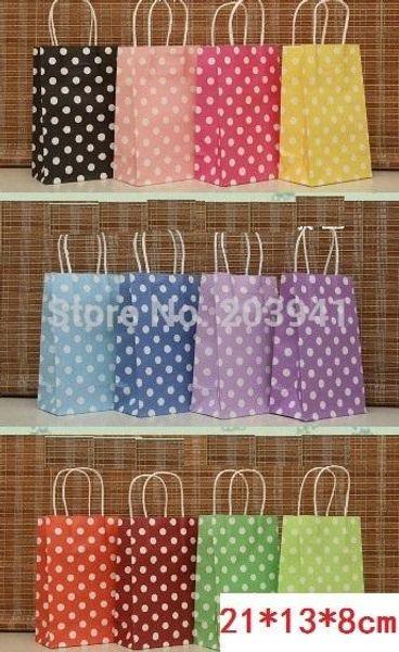 210*130*80mm/Hot/Polka Dot kraft paper gift bag/Festival gift bags/Paper bag with handles/wholesale