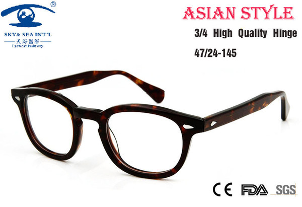 Wholesale- Asian People High Quality Johnny Depp Glass Eyewear Frames Men Vintage Round Frame Glasses Mens Retro Optical Frame Rx