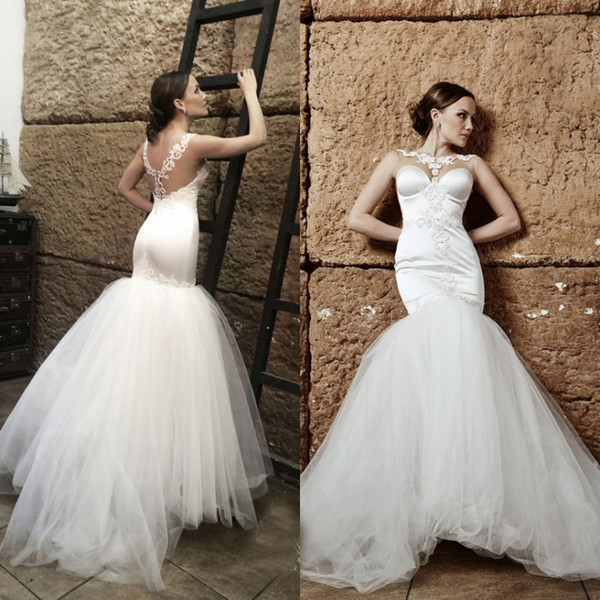 Elegant Fit and Flare Wedding Dresses Sheer Neck Pearls Lace Appliques Illusion Back Mermaid Wedding Gowns Tulle Bridal Wear LS 31-6