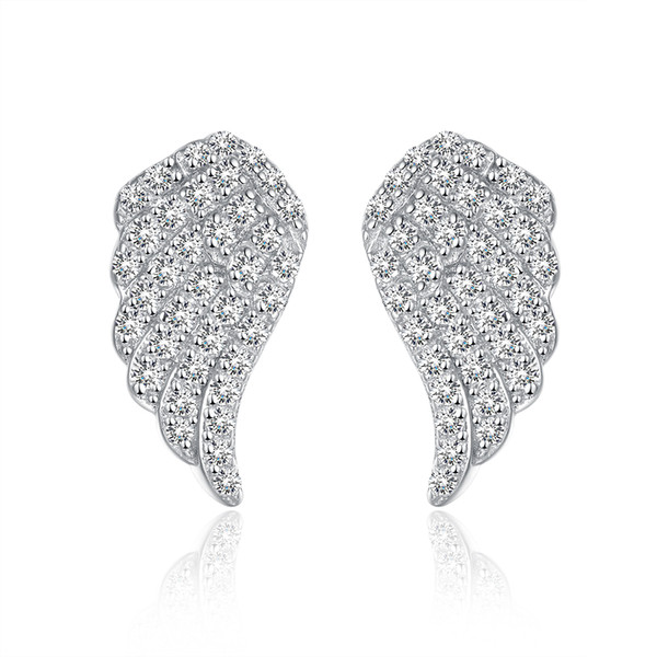 925 Sterling Silver Full Sparkling Cubic Zirconia CZ Angel Wings Bridal Stud Earrings