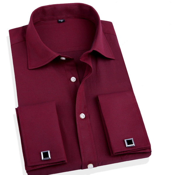 Wholesale- Fashion Men Business Shirts French Cuff Button Men Dress Shirts Cotton Solid shirt with Long Sleeve slim fit designer shirts