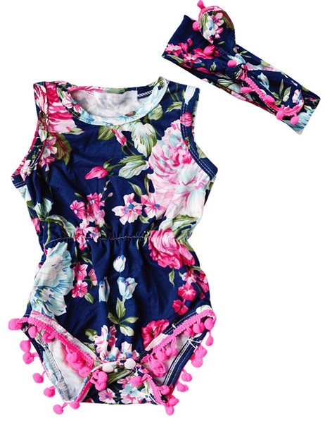 best selling Baby girl romper overall Floral sleeveless newborn infant rompers Kids boutique bodysuit roupas handmade Jumpsuit outfit
