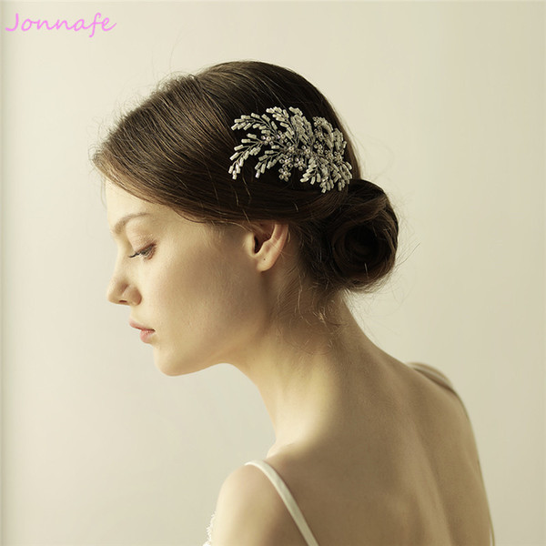 beijia Silver Beaded Flower Bridal Hair Comb Wedding Pearls Hairpiece Hair Accessories Women Headpiece Hair Jewelry