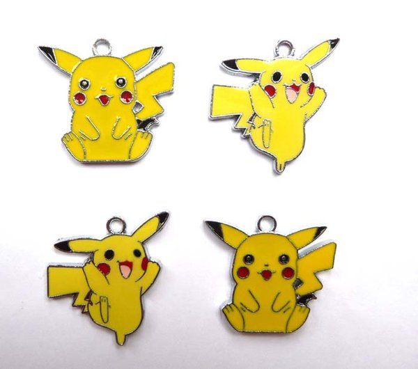 Mixed 100 Pcs Classic Anime Cartoon Yellow Pikachu Metal Charm Pendants Jewelry Making Toy Choose Design